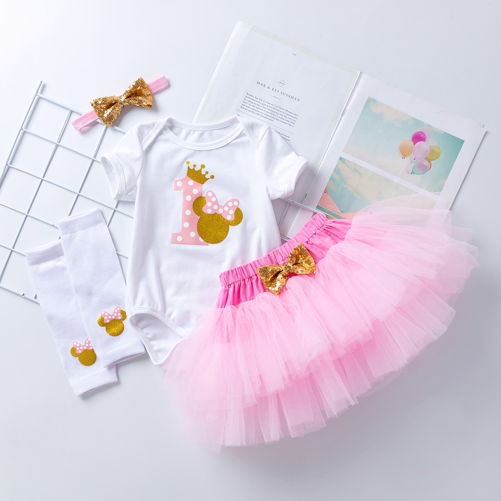 First Birthday Baby Girl Clothing Set Newborn Cotton bodysuits+Pink Tutu Skirt+Leg warmers+headband 4pcs/Sets Infant Clothes