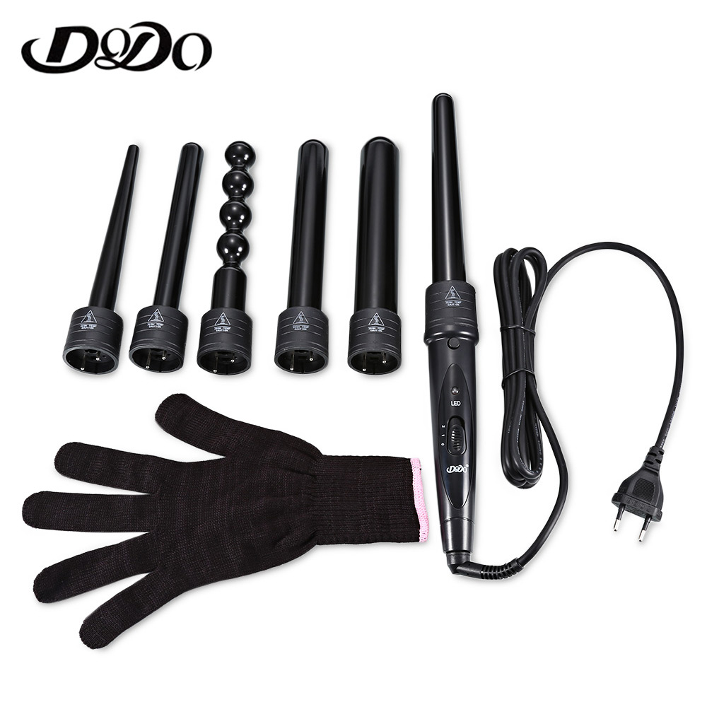 DODO New 6 In 1 Ceramic Pro Curling Iron Wand Hair Curler Set Pro Interchangeable Barrel Tourmaline Curling Iron Machine
