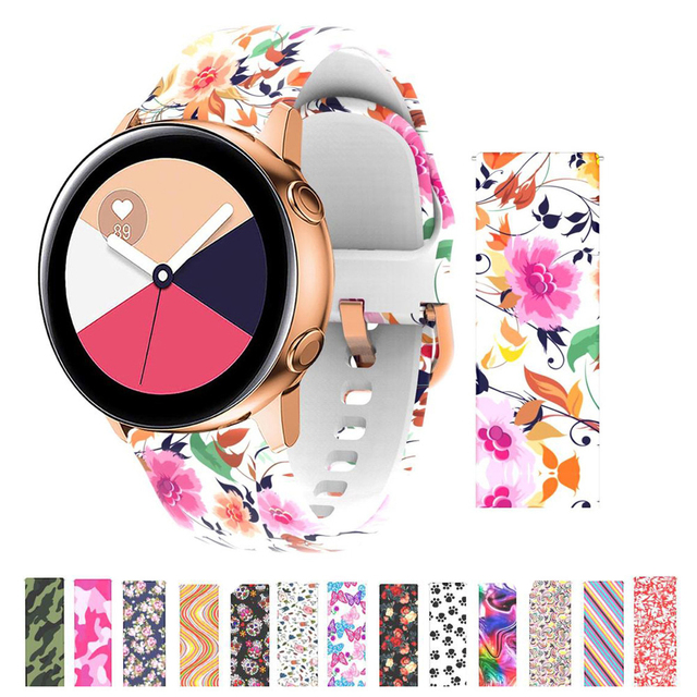 20mm Silicone Floral Flower Band for Samsung Galaxy Watch Active 42mm Gear Sport S2 Amazfit Bracelet Band Strap Correa watchband