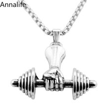 2019 New Dumbbell Pendant Fitness Necklace Bodybuilding Gym Crossfit Barbell Necklace Fitness Jewelry Stainless Steel Chai(China)