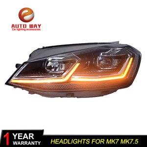 Image 5 - Автомобильный Стайлинг налобный фонарь чехол для VW Golf7 фары Golf 7 MK7 2013 2017 светодиодный ная фара DRL линза двойной луч Биксенон HID
