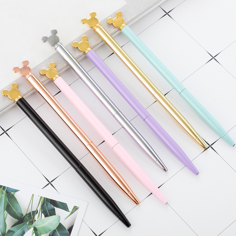 Kawaii Mickey Mouse Matel Ballpoint Pen Creative Cartoon Write Handle Oil Pen For Student Office Stationery School Supplies