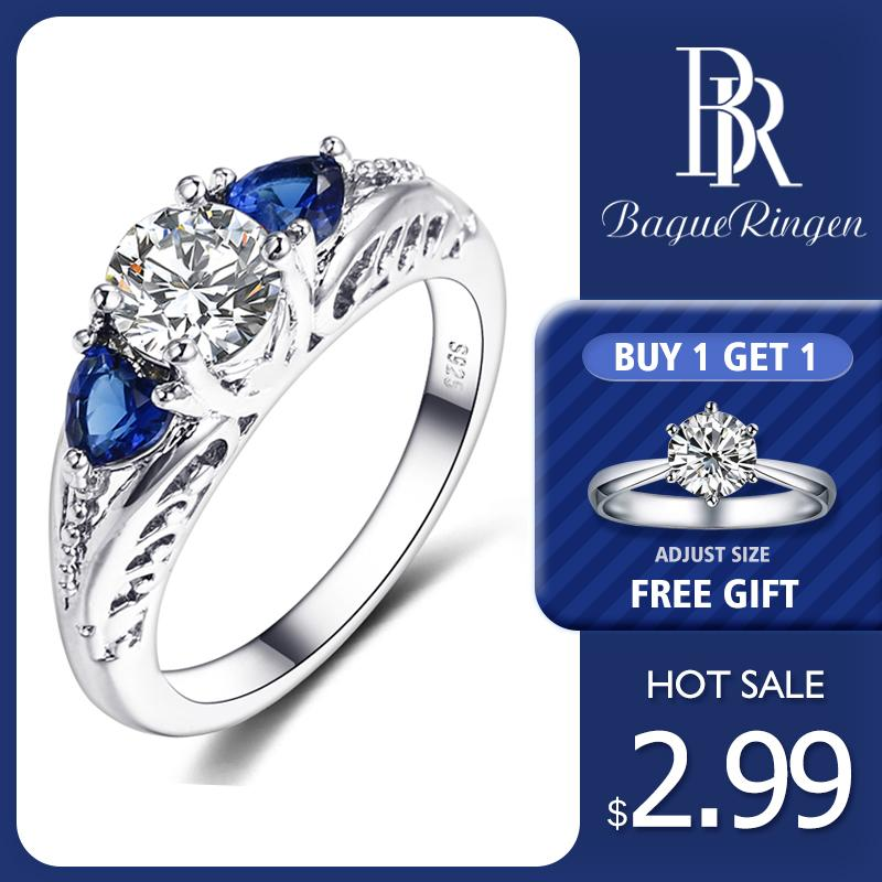 Bague Ringen Classic 100% 925 Sterling Silver Sapphire Gemstone Wedding Engagement Rings for Women Fine Jewelry Gift Wholesale(China)