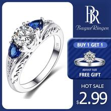 Bague Ringen Classic 100% 925 Sterling Silver Sapphire Gemst