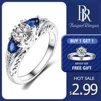 Bague Ringen classique 100% 925 argent Sterling saphir pierres précieuses de mariage bagues de fiançailles pour les femmes bijoux fins cadeau en gros