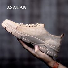 ZSAUAN Genuine Pigskin Leather Spring Fall Men Casual Loafers Mens Low Top Boots Outdoor Trend Work Desert Sneakers Sandy