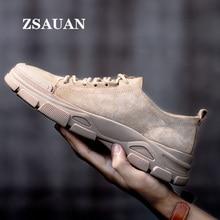 Zsauan本物のピッグスキンレザー春秋男性カジュアルローファーメンズ低トップブーツ屋外トレンドワーク砂漠スニーカー砂浜