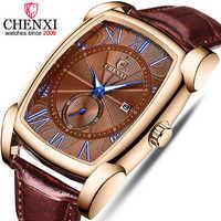 Chenxi marca de quartzo relógios masculinos relógio militar relogio masculino couro marrom 2019 novo estilo erkek kol saati