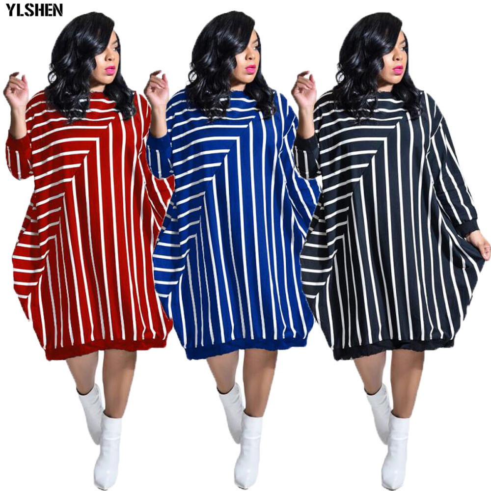 2020 Dashiki Traditional African Dress for Women Long Sleeve Loose Stripe Ankara Dresses African Clothes Robe Africaine Femme