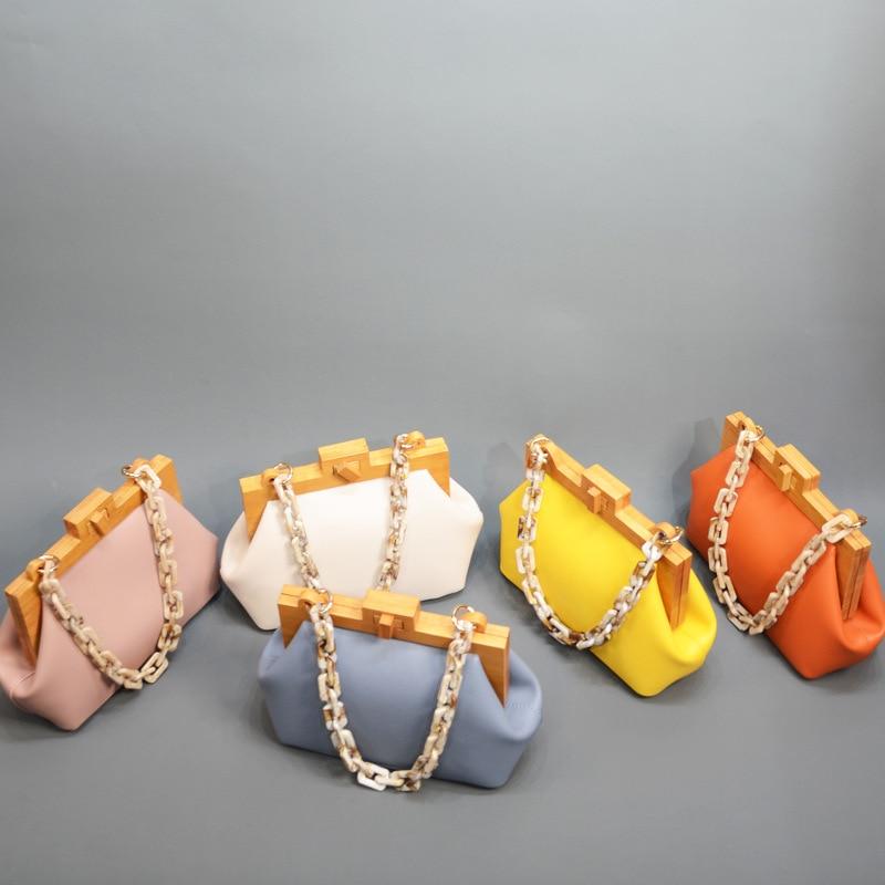 Vintage Luxury Acrylic Chain Wooden Clip Women Shoulder Bags Designer Shell Handbags Brand Crossbody Bag Fashion Lady Purse 2019