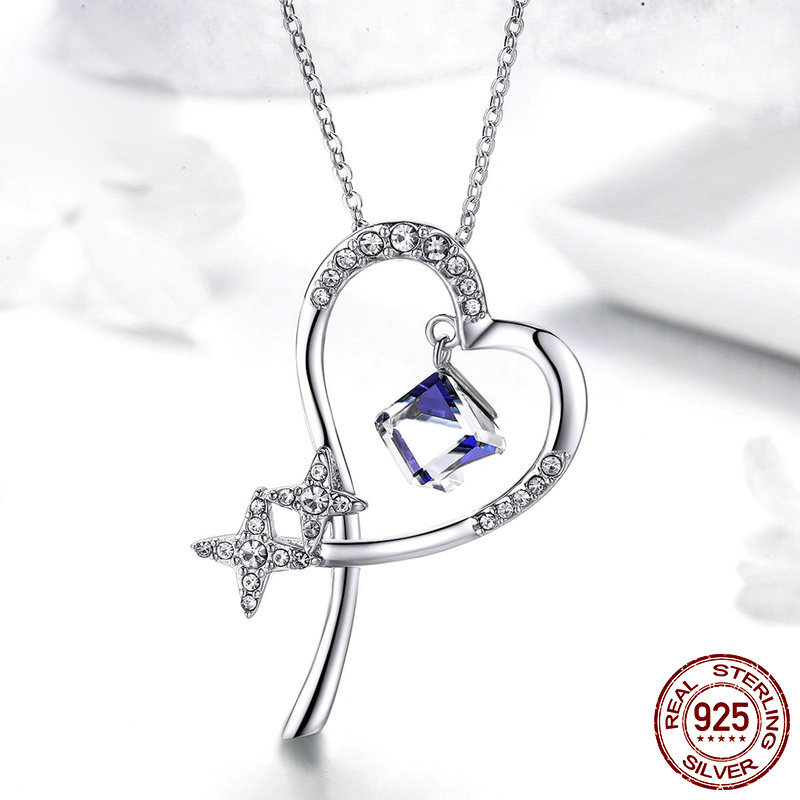 Luxury Crystal Love Heart Pendant Necklace Women Clavicle Chain Necklace Plated Jewelry Wedding Lovers Gifts|Chain Necklaces| - AliExpress