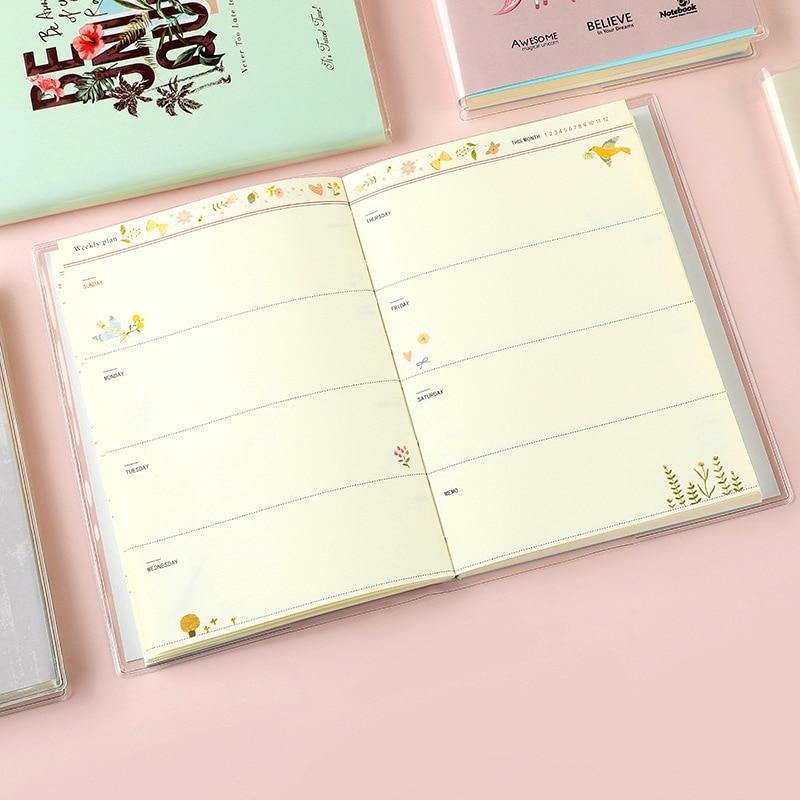 Bonito unicórnio portátil diário livro caderno floral anual mensal plano semanal planejador organizador estudante material escolar papelaria