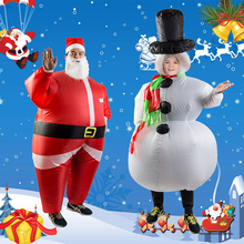 Unisex Women Men Santa Claus Snowman Inflatable Suit Christmas Party Costume Clothes With Beard and Hat Funny