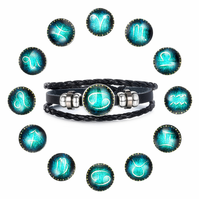 Fashion Luminous 12 Constellation Bracelet Zodiac Sign Beads Leather Bangle Bracelets For Women Punk Men Jewelry Accessories