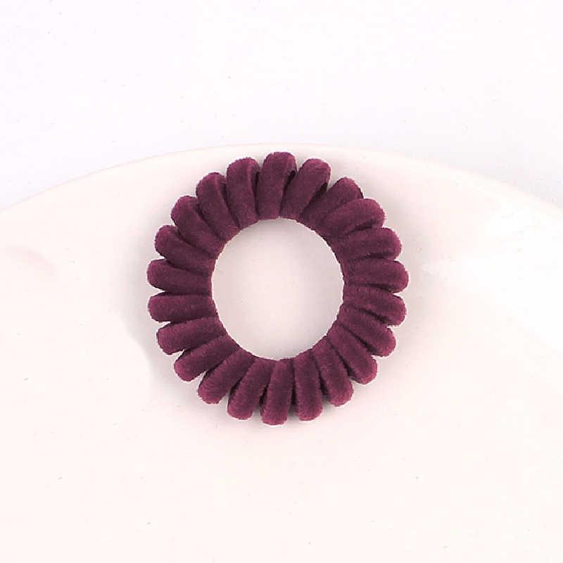 1PC อุปกรณ์เสริมผมยืดหยุ่นแหวน Scrunchies ผ้ากำมะหยี่โทรศัพท์ลวดเกลียวผมเชือกผม TIES ยาง Band Scrunchy