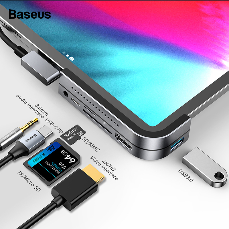Baseus USB C HUB For IPad Pro 12.9 11 2018 Type C HUB To HDMI USB 3.0 PD Port 3.5mm Jack USB-C USB HUB Adapter For MacBook Pro