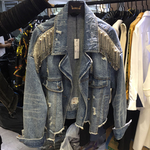 New European Jean Jacket Women New Heavy Process Tassel Top Sequin Retro Breasted Denim Jacket Hand Studded Jacket Coat NZY150