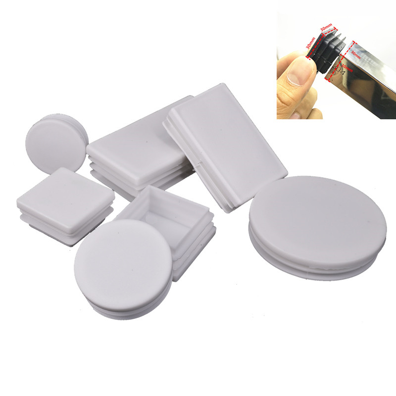 Round Pipe Plug White Plastic Tube End Cap Anti Slip Alloy Ladder Chair Furniture Leg Blanking Hole Dust Cover Feet Protector