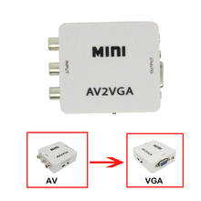 1080P VGA to AV Mini RCA Audio Video HD Adapter Convertor for TV Monitor Screen(China)