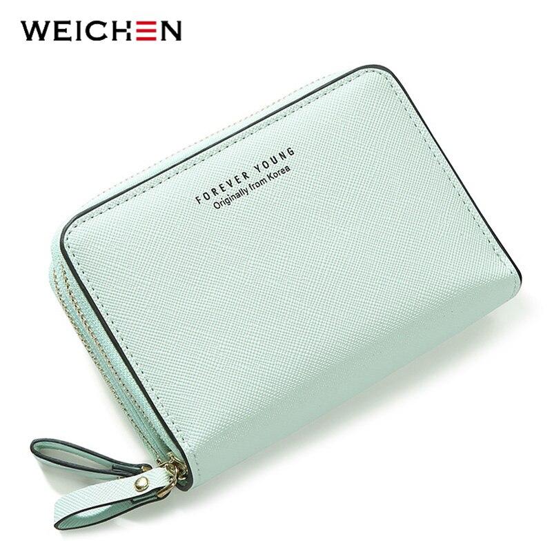 WEICHEN Double Zipper Fashion Women Wallets High Quality Female Wallet Card Holder Coin Pocket Pu Leather Ladies Purse Carteira