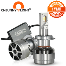 CNSUNNYLIGHT 70 วัตต์/คู่LED H7 H11 H8 ไฟหน้ารถ 9005 9006 H4 Hi/Lo Bi หลอดไฟLED H1 500% สว่างกว่าอัตโนมัติไฟรถยนต์ 6000K