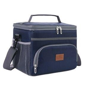 Image 3 - وصفت 15L الأزرق الأحمر معزول الحرارية برودة حقيبة حفظ الطعام للخارجية نزهة سيارة باستخدام بولسا termica loncheras الفقرة mujer