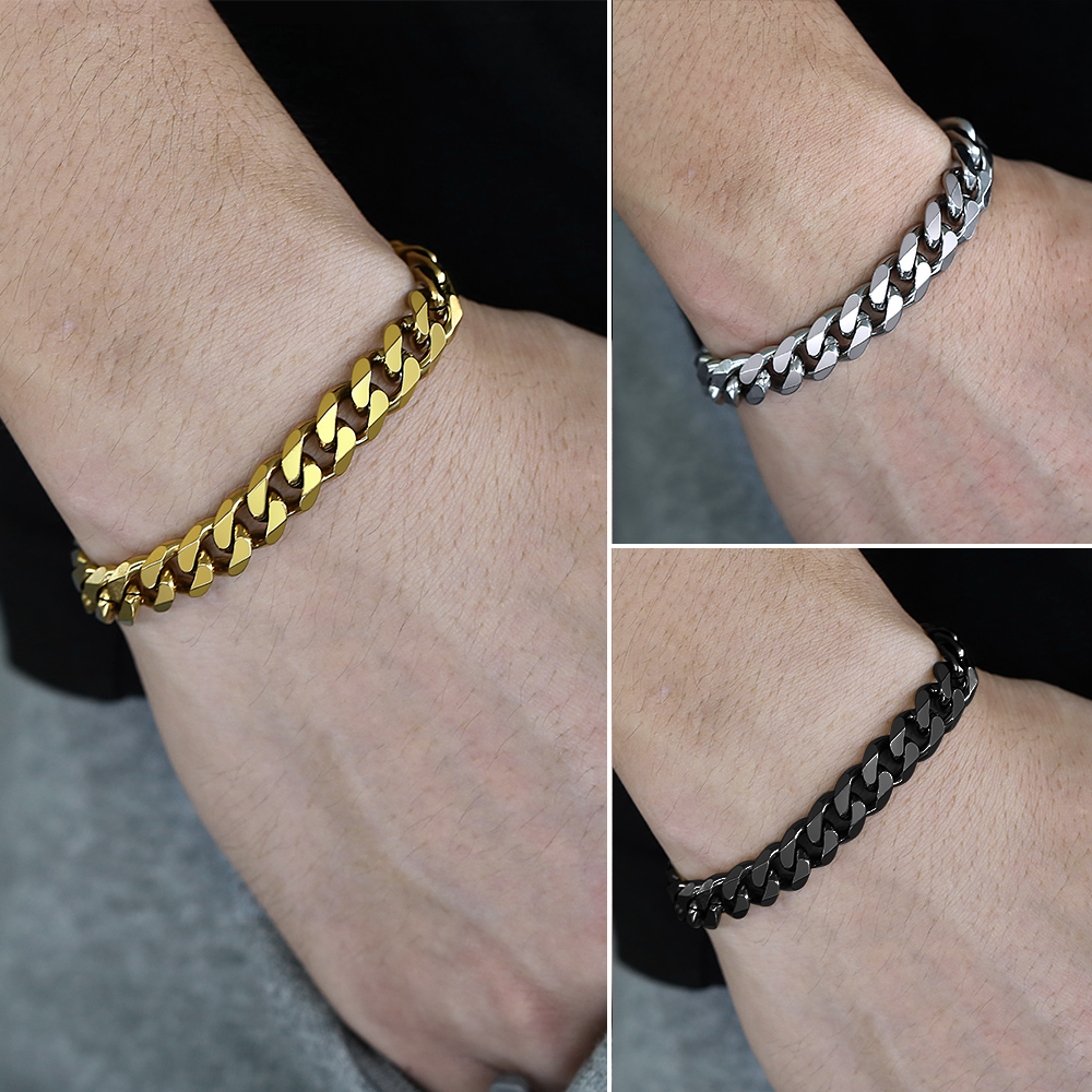 Curb Cuban Link Chain Stainless Steel Bracelets for Mens Womens Gold Black Silver Color Wholesale Jewelry 3/5/7/11mm DKBB10