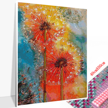 Huacan 5D DIY Diamond Painting Full Square Dandelion Diamond Embroidery Mosaic Landscape Art Decorations
