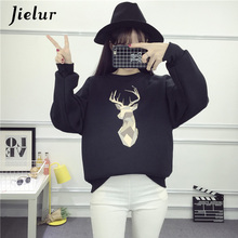 Jielur New Fashion Hoodies Women Harajuku O-Neck Femme 2019 Korean Style Black Kpop Loose BF Hipster College Womens Sweatshirt