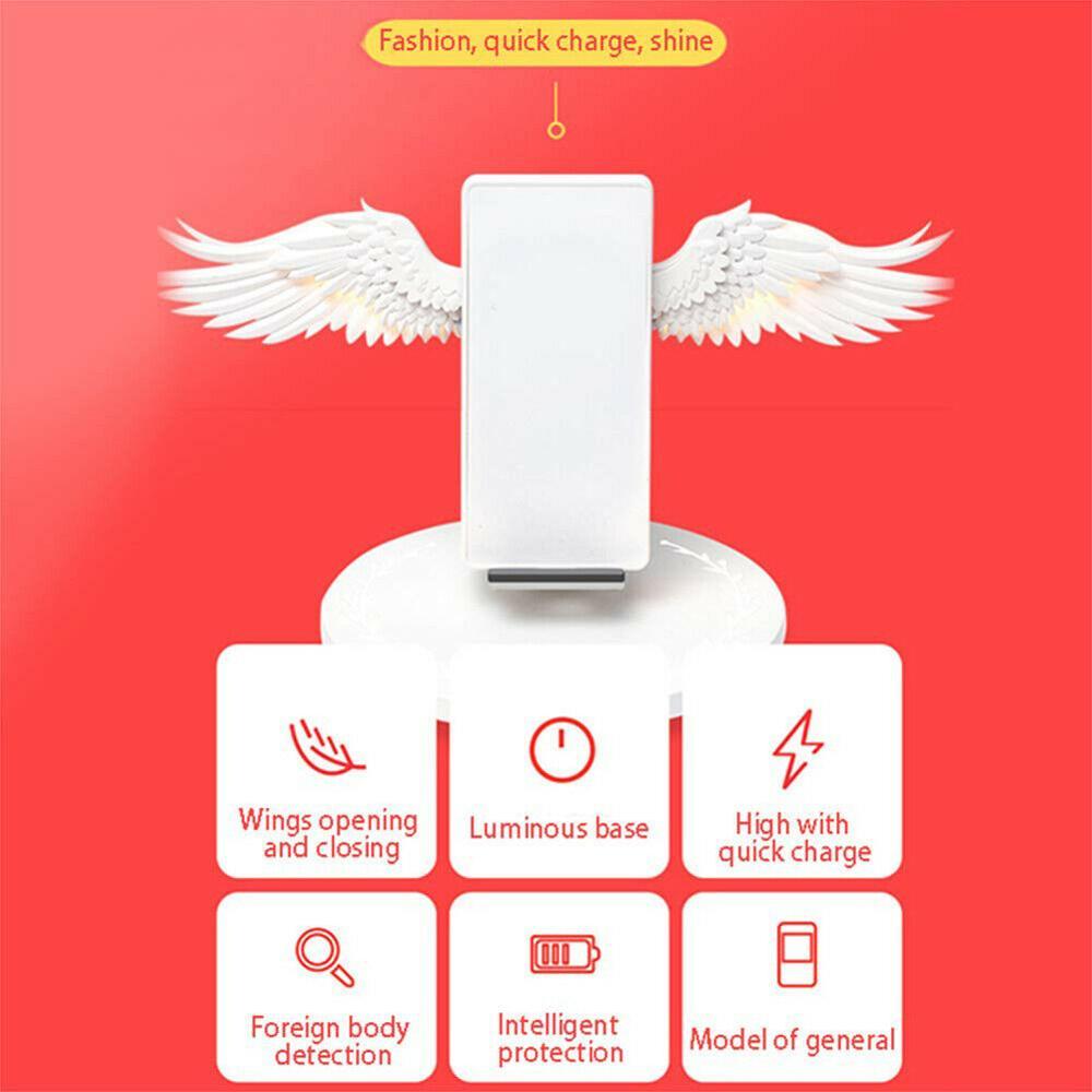 Le Plus récent ange ailes 10W Qi chargeur sans fil pour Iphone X 8 Plus avec lumière LED Charge rapide rapide pour Samsung S10 S9 Xiao mi mi 9 - 2