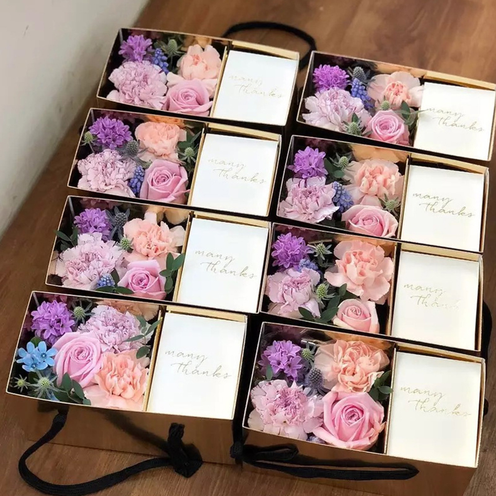 1Pcs Gold Black Flower Dessert Gifts Box Bags Paper Packaging Gift Box Paper Folding Box Florist Wedding Party Supply DIY Craft