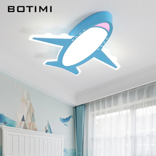 BOTIMI Cartoon Plane Shaped Kids LED Ceiling Lights For Bedroom Boys Room Lamp Blue Surface Mounted Lighting Fixtures
