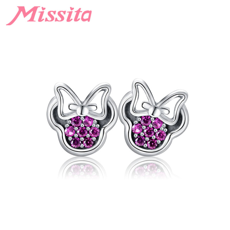 MISSITA 100% 2019 New Fashion Lovely Minnie Earrings For Women Silver Jewelry Brand Stud Earrings Anniversary Party Gift