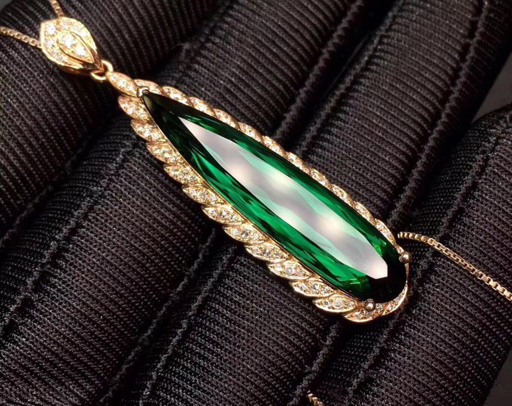 Fine Jewelry Real 18 K 100% Natural Green Tourmaline 8.8ct Brazil Origin Diamonds Gemstone Diamond Women's Pendants Necklaces