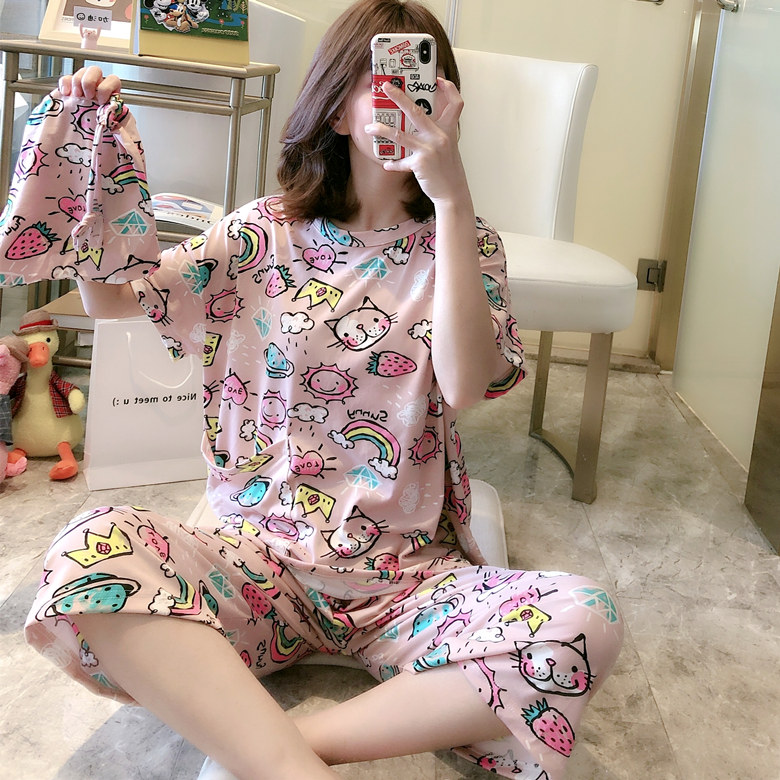 2020 New Hot Sale Pajamas For Women Spring Summer Loose Casual Pyjamas For Girl Short Sleeve Comfortable Sleepwear