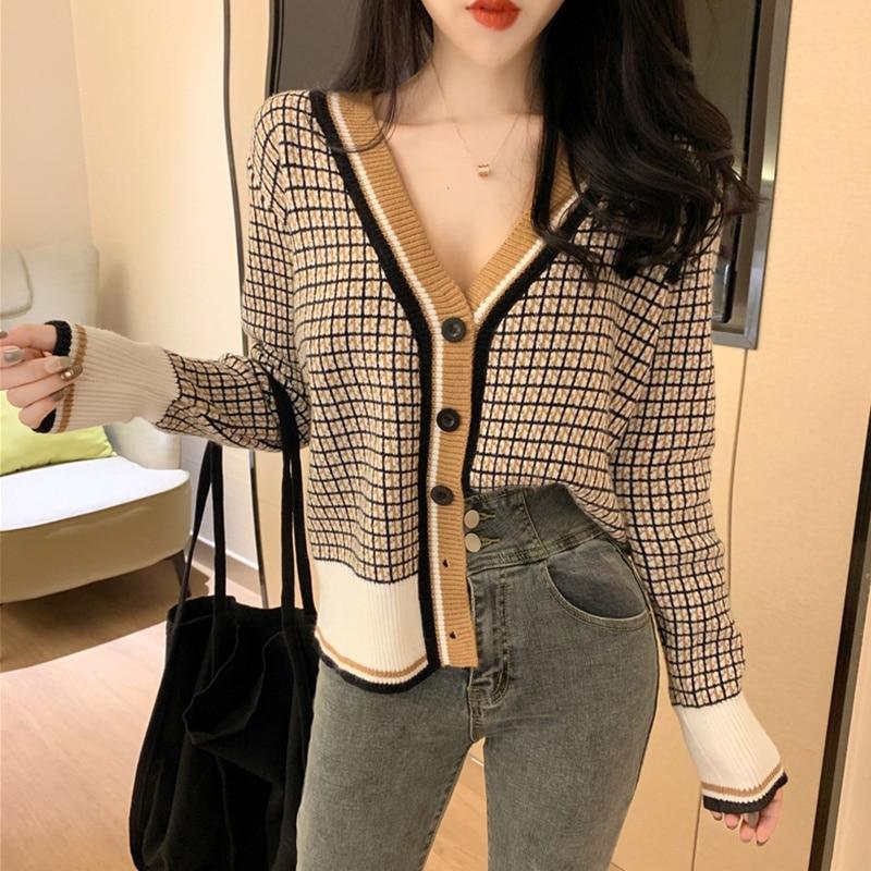 Купить модный свитер с принтом женский однобортный кардиган длинным