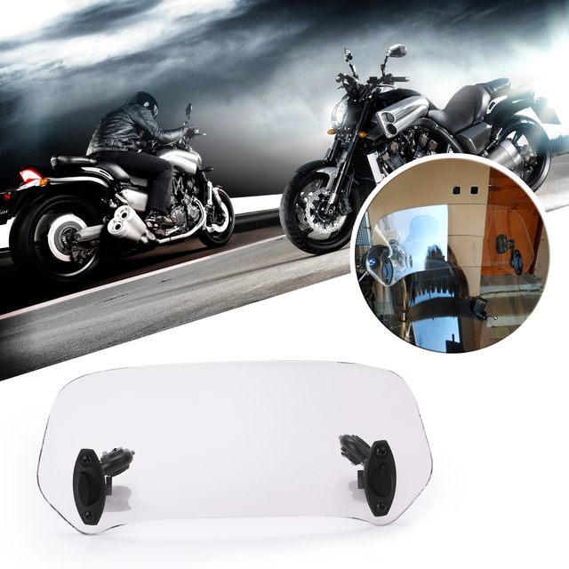 Motorcycle Parts Adjustable Clip On Windshield Extension Spoiler Windscreen Air Deflector For BMW Honda Suzuki Yamaha Kawasaki 5