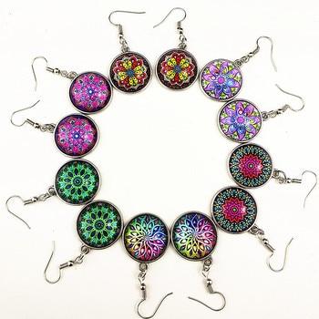 24 Uds cabujón de cristal con diseño de mandala brazaletes pulseras de cuero, pendientes, collar, anillo, llavero, horquilla, broche conjunto de joyas