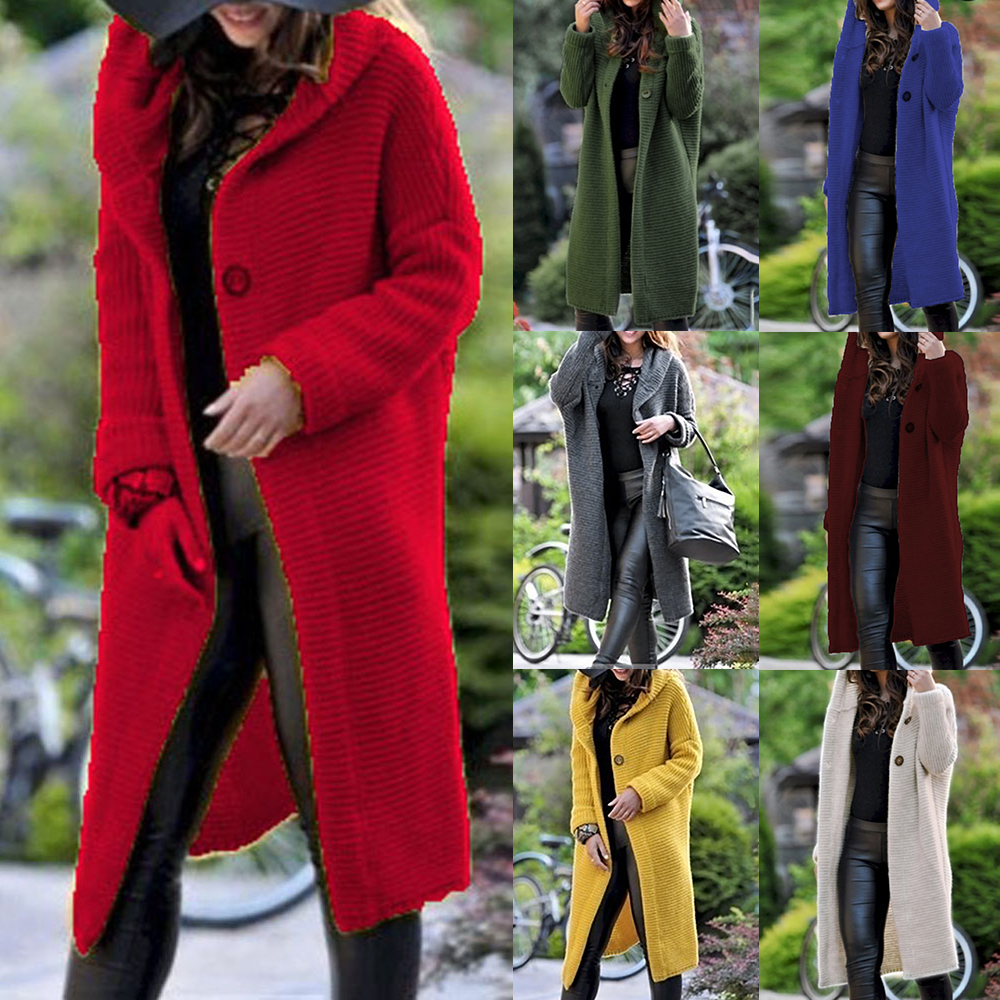 Women Long Knitted Cardigan Hooded Sweater Solid Autumn Long Coat Winter Knitting Coat Plus Size 5XL Casual Knittwear