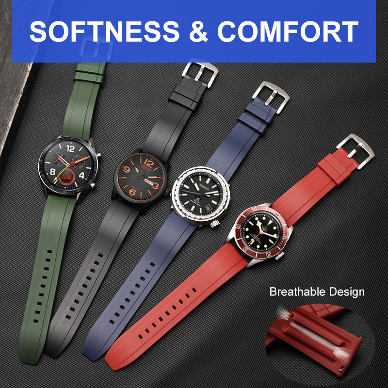 Fluororubber Watch Strap For Samsung Gear S3 Rubber Watch Band For Samsung Galaxy Watch Belt HUAWEI GT2 2e Watch For Amazfit GTR