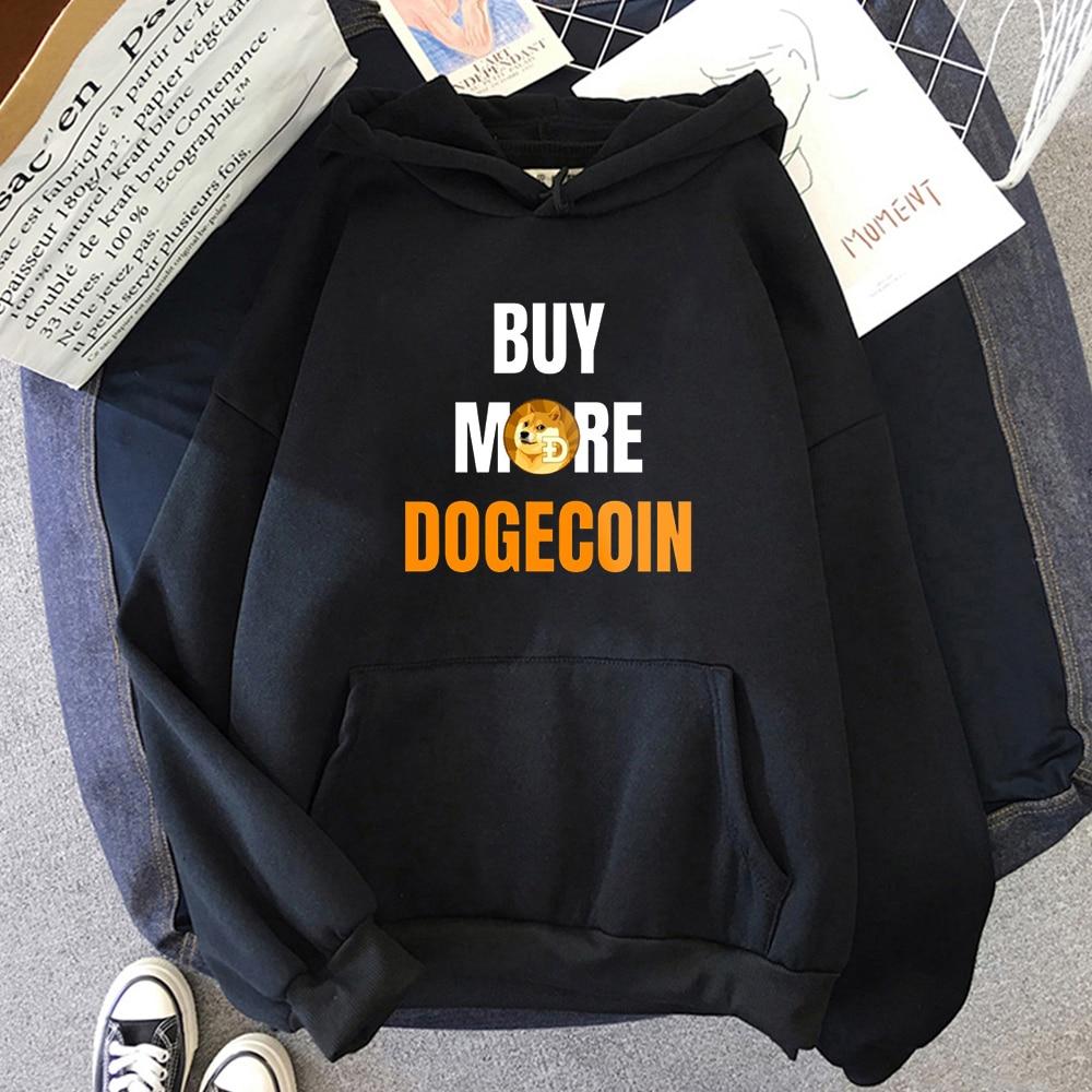 Bitcoin Art Buy More Dogecoin Print Classic Hoodie Harajuku Streetwear Women Long Sleeve Loose Kawaii Clothes 12 Color For Teens 1