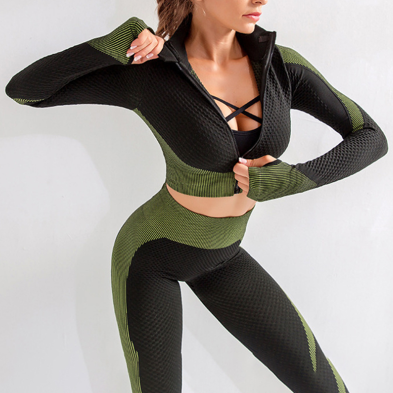 Women Sport Suit Seamless Running Tracksuit Sportswear Gym Crop Top Pant Fitness Clothes Workout Leggings Female 2 Piece Set