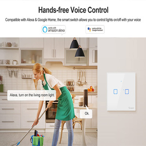 Image 2 - SONOFF TX/T2 EU/UK 1/2/3 Gang Light Led Wall Switch Touch/Wifi/433Mhz RF Remote/Voice Control Smart Panel for Google Home Alexa