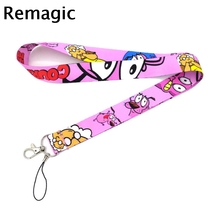 Courage the cowardly dog character simple kids 90s vintage gift Neck keychain necklace Anime Cartoon Strap Lanyard ID badge cute cartoon character note pad with keychain and strap color assorted