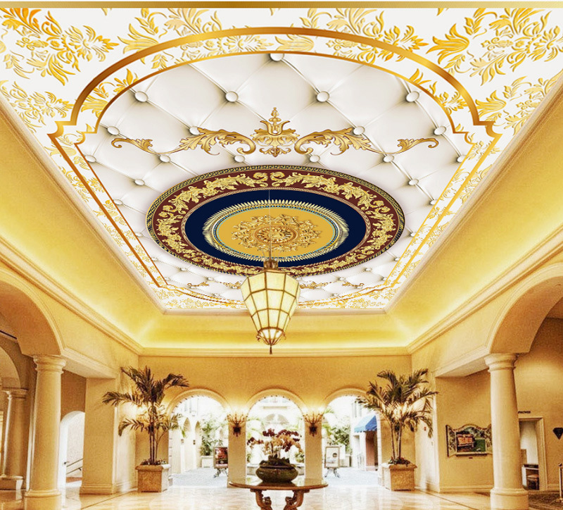 3D European Style Living Room Ceiling Wallpaper Luxury Ceiling Mural Hotel Roof 5D Stereo Wallpaper Roof 8D Wall