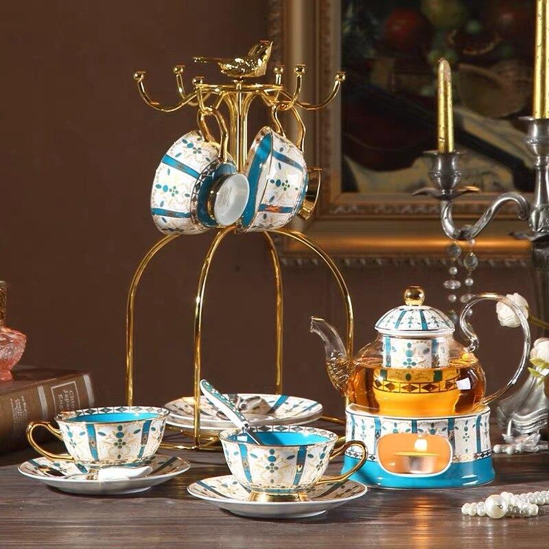 Британский послеобеденный Кофе Чай костяная чашка набор блюдец роскошный керамический ретро стеклянный чайник кружка чашка с держателем