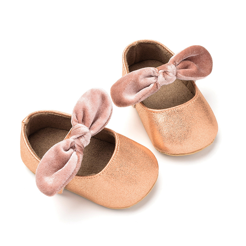 Bow Newborn Baby Girl Shoes Pu Leather Infant Toddler Baby Shoes Girls 1 Year Rose Gold Baby Booties Scarpe Bambino