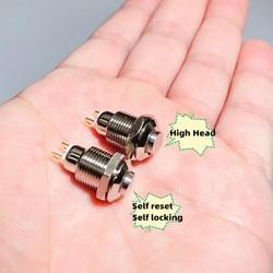 1 шт 10 мм с высоким напором 2-контактный сварки отверстия панели мини металлический кнопочный переключатель кнопка включения самоблокирующ...