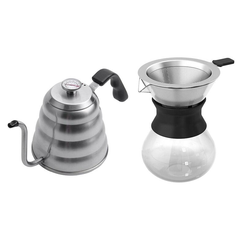 2 uds. Hervidor de café prémium para una temperatura precisa 40 floz-cuello de cisne tetera-TETERA de 5 tazas de acero inoxidable