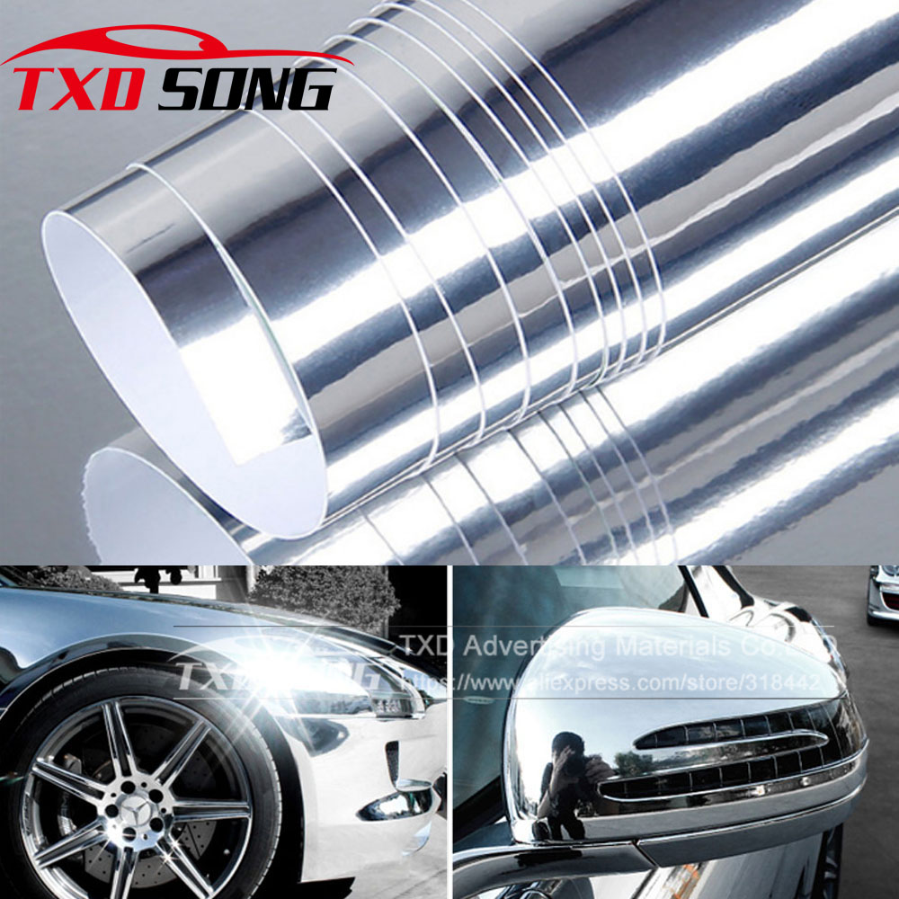 10/20/30x152cm Newest High Stretchable Mirror Silver Chrome Mirror Flexible Vinyl Wrap Sheet Roll Film Car Sticker Decal Sheet